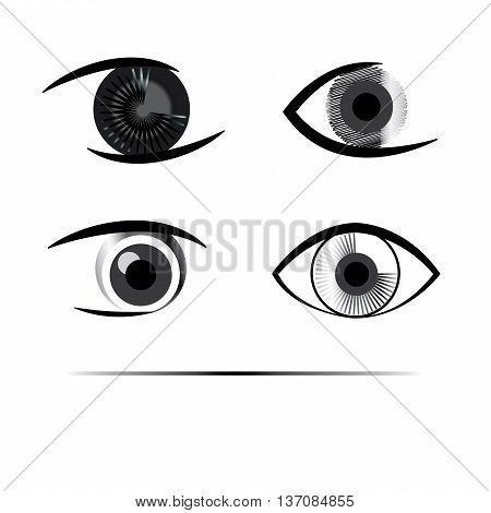 Eyes abstract different logo set in grayscale