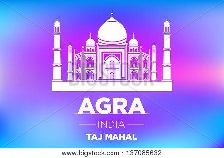 Agra Taj Mahal India Vector Blue Background