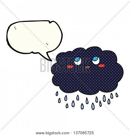 freehand drawn comic book speech bubble cartoon raincloud