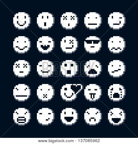 Set of vector retro signs made in pixel art style. Emotional expressions displayed on the faces of personalities geometric pixilated symbols.