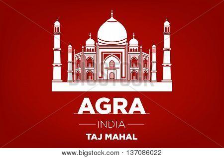 Agra Taj Mahal India Vector Red Background