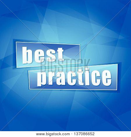 best practice over blue background, flat design, business concept words, vector