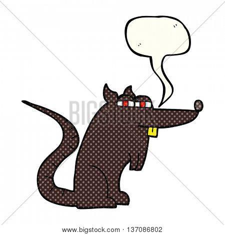 freehand drawn comic book speech bubble cartoon evil rat