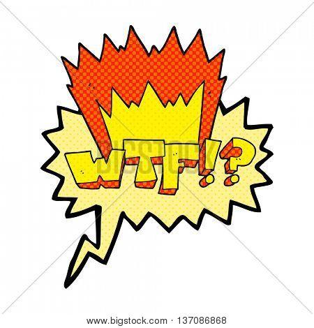 freehand drawn comic book speech bubble cartoon WTF symbol
