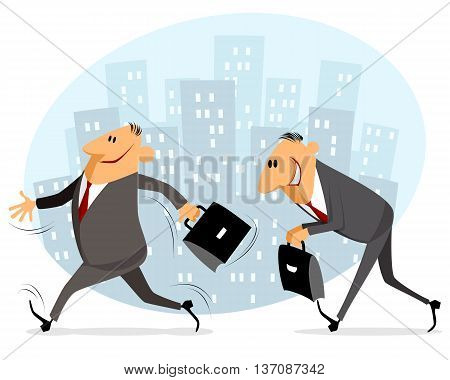 Vector illustration of a two businessmen goes