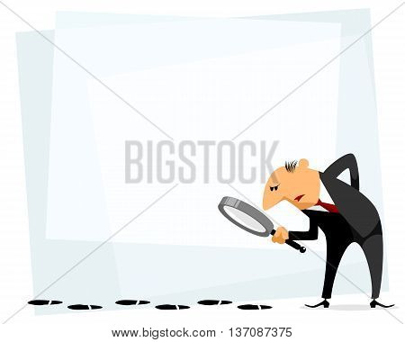 Vector illustration of a businessman with loupe