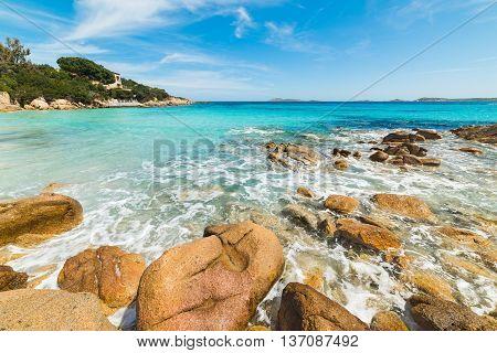 Capriccioli beach rocky shore in Costa Smeralda