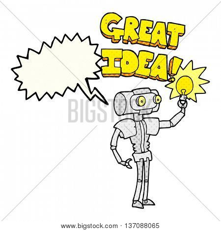 freehand drawn comic book speech bubble cartoon robot with great idea