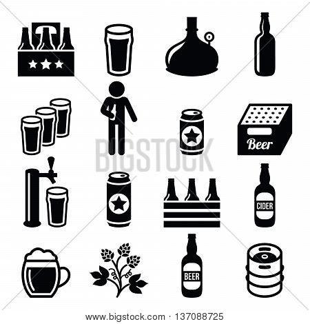 Beer, brewery, pub vector icons set on white