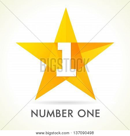 Number one star logo. Vector sign Number One 1 first place winner in yellow facet star