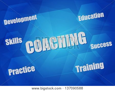 coaching and business concept words in hexagons over blue background, flat design, vector