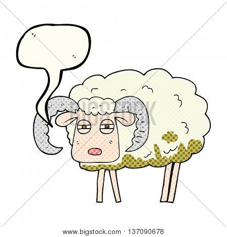 freehand drawn comic book speech bubble cartoon ram covered in mud