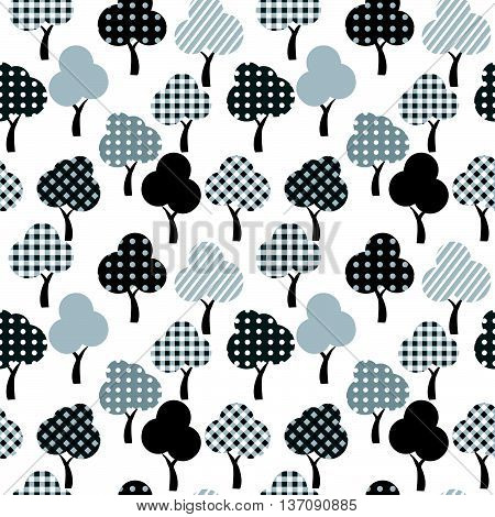 Illustration of cartoon patterned trees seamless background