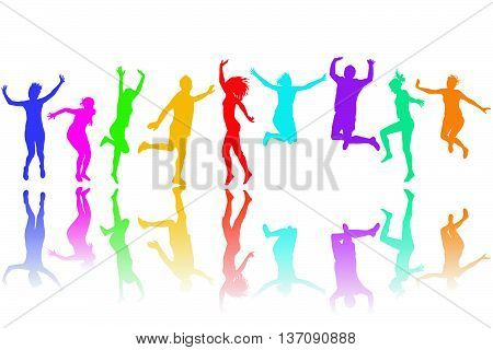Set of colorful silhouettes jumping on white background