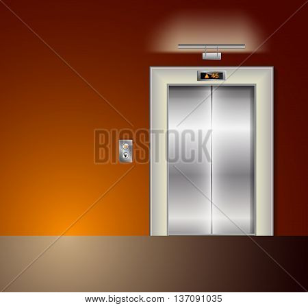 Open and Closed Modern Metal Elevator Doors. Hall Interior in orange Colors. Wall lamp and light