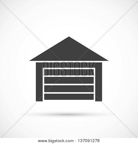 Garage icon on white. Car garage with closed gates