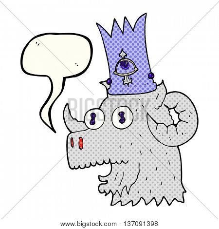 freehand drawn comic book speech bubble cartoon ram head with magical crown