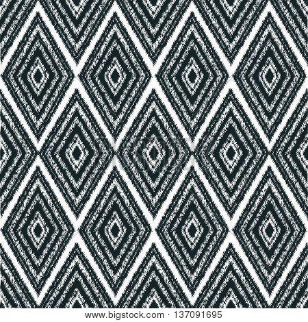 navajo tribal pattern seamless-vector monochrome illustration. Black and white color. On white background black diamonds.