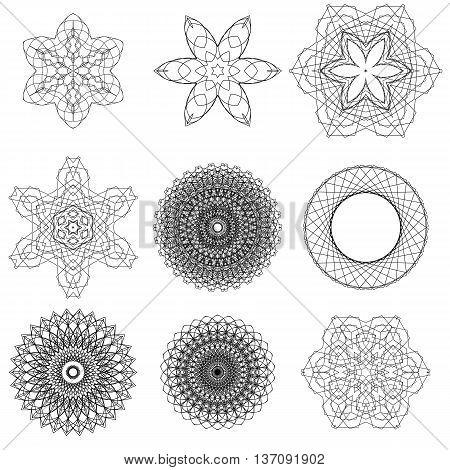 Set of Black Circle Ornaments Isolated on White Background