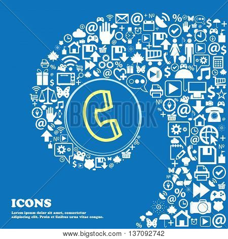 Handset Sign Symbol. Nice Set Of Beautiful Icons Twisted Spiral Into The Center Of One Large Icon. V