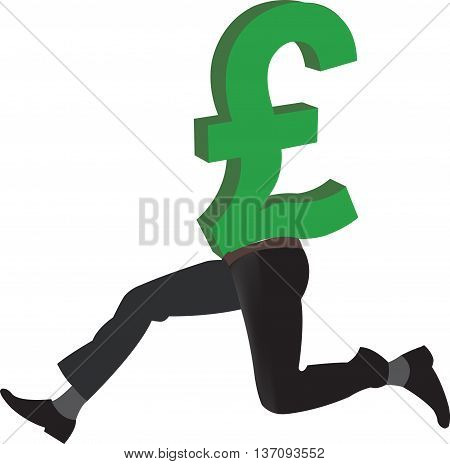 British pound currency symbol with legs Pound with legs