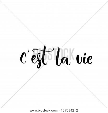 C'est la vie. French phrase means that's life. Brush lettering quote for  fashion clothes and cards