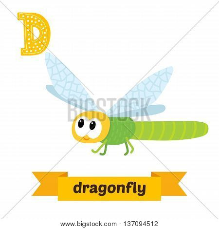 Dragonfly. D Letter. Cute Children Animal Alphabet In Vector. Funny Cartoon Animals