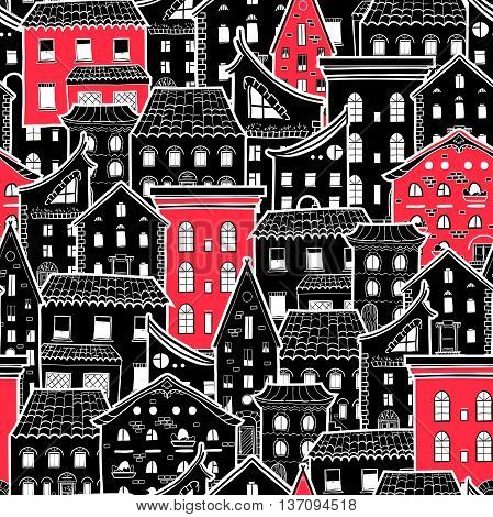 Seamless pattern with houses, doodle house vector wallpaper, monochrome background with red accents, good for design fabric, wrapping paper, postcards, EPS 8