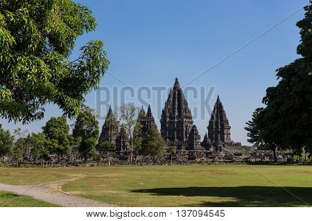 an ancient Indonesian temple Prambanan in Java