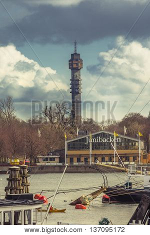 Stockholm Sweden - March 30 2016: The Kaknas Tower from Stockholm. The Kaknas Tower is the hub of all TV and radio transmissions in Sweden and it is 155 metre high