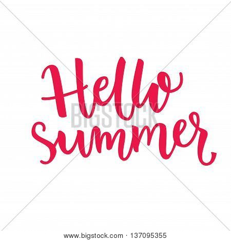 Hello summer text. Vector typography. Brush lettering design