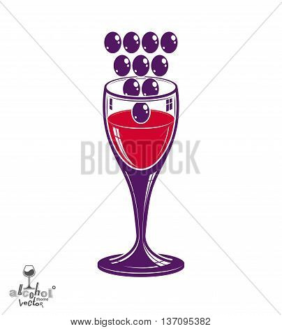 Winery theme vector illustration. Stylized wineglass with grapes cluster racemation symbol best for use in advertising and graphic design.