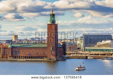 Stockholm, Sweden - March 31, 2016: Stockholm City Hall. Stockholm City Hall is the building of the Municipal Council for the City of Stockholm in Sweden