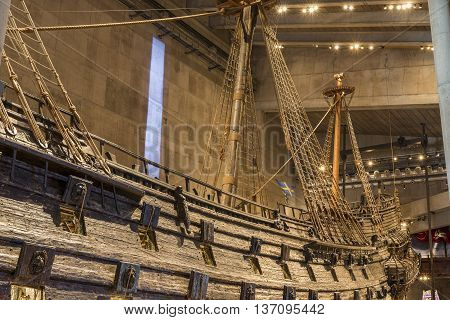 Stockholm Sweden - April 01 2016: The Vasa Museum is a maritime museum in Stockholm Sweden. The museum displays the only almost fully intact 17th century ship in the world