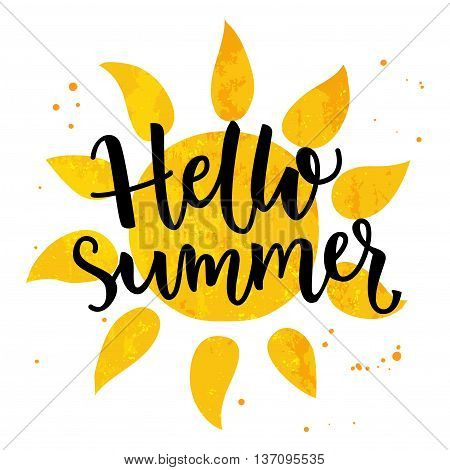 Hello summer banner. Typography poster with sun and lettering. Sunny design for beach party, summer collection clothes, social media content