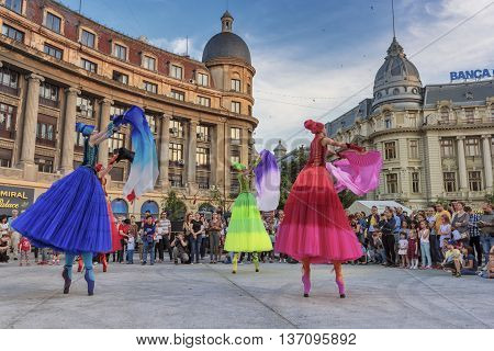 Bucharest, Romania - June 10, 2016: Ballerinas show at B-FIT in the Street. B-FIT is a cultural event that involves international artists and acrobats who act in theater plays on street.