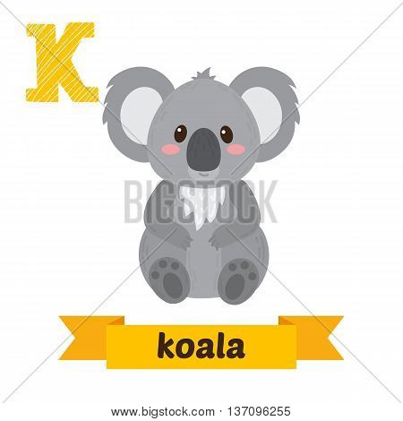 Koala. K Letter. Cute Children Animal Alphabet In Vector. Funny Cartoon Animals