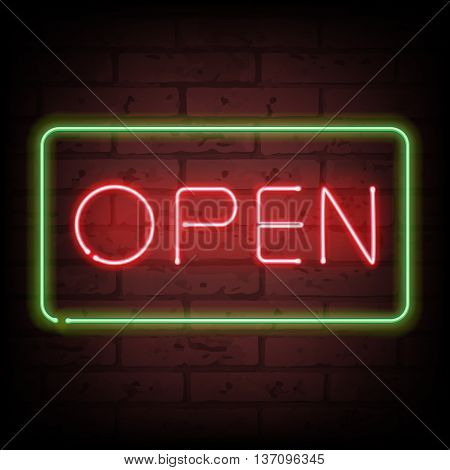 Neon sign open on brick wall vector illustration. Good for day-and-night convenience services design.