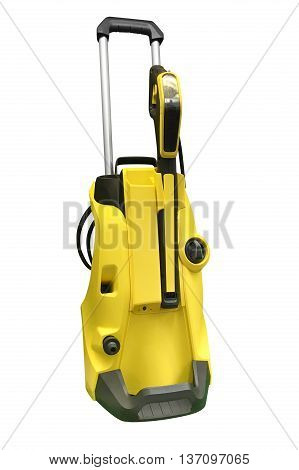 yellow vacuum cleaner isolated on white background