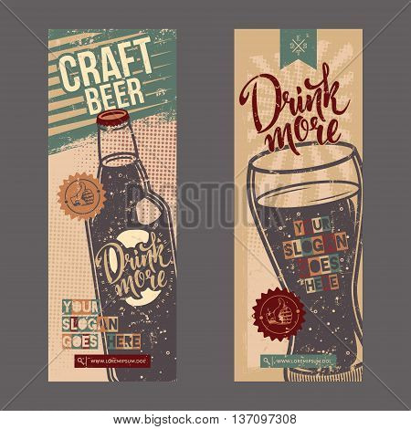 Set with vintage retro banners with bottle and glass of beverage. Grunge vector illustration