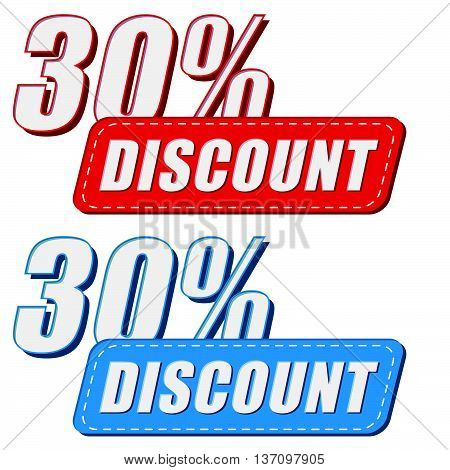 30 percentages discount in two colors labels, business shopping concept, flat design, vector
