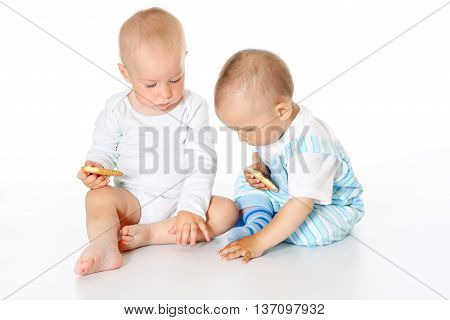two funny lovely baby boys sitting together on and eating cookies white background