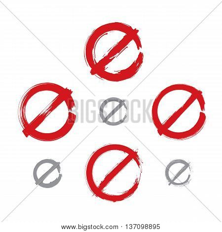 Set of hand-drawn simple vector prohibition icons collection of brush drawing red realistic ban symbols hand-painted prohibition sign isolated on white background.