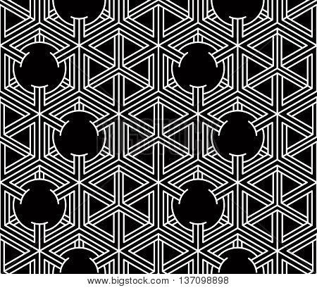 Contrast black and white symmetric seamless pattern with interweave figures.