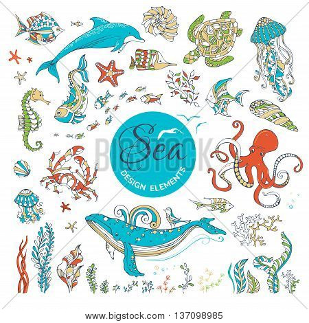 Vector Set Of Cartoon Wild Underwater Sea Life.
