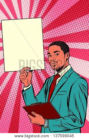 Businessman with advertising poster, pop art retro vector. A black man African American, or Hispanic.