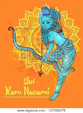 Ornament beautiful card with hindu god sri Rama Geometric element hand drawn image lord Rama. Medallion, yoga, india, vector illustration of Happy Dussehra. Happy Shri Ram Navami. Holiday India