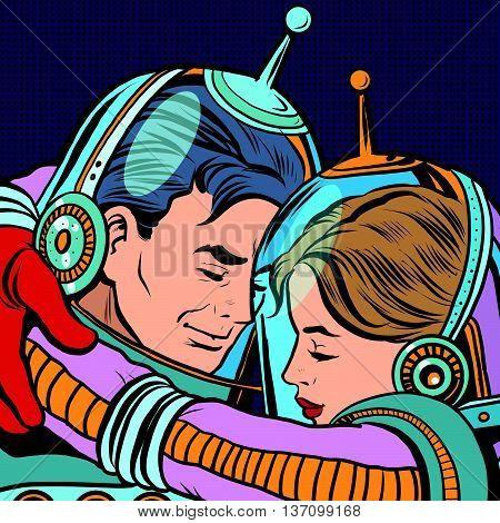 Retro love couple astronauts man woman pop art vector. Science fiction. Romance and love