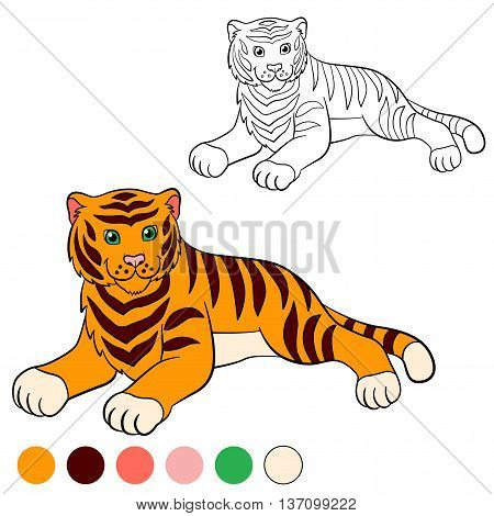 Coloring Page. Color Me: Tiger. Cute Tiger Smiles.