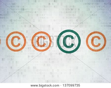 Law concept: row of Painted orange copyright icons around green copyright icon on Digital Data Paper background
